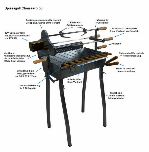 Holzkohlegrill Spiessgrill Churrasco 50 mit Beschriftung
