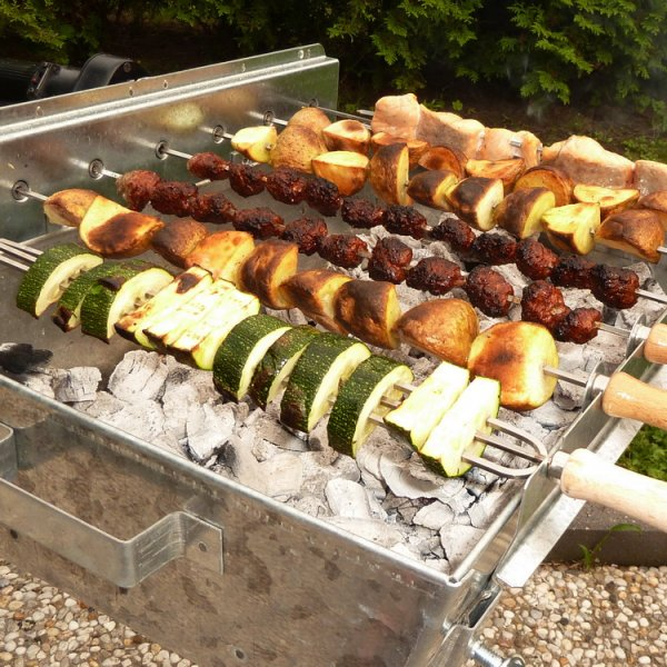 Holzkohlegrill Spießgrill Churrasco 45 portable mit Beschriftung
