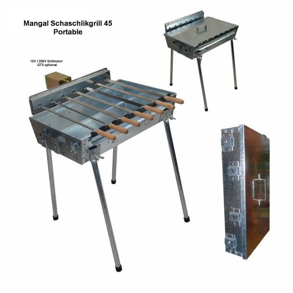 Mangal Grill 45 Portable jetzt mit 3V Power Batterie Grillmotor GT7